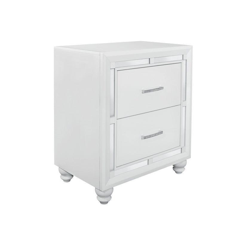 White Tone Nightstand with 2 Drawer Mirror Trim Accent