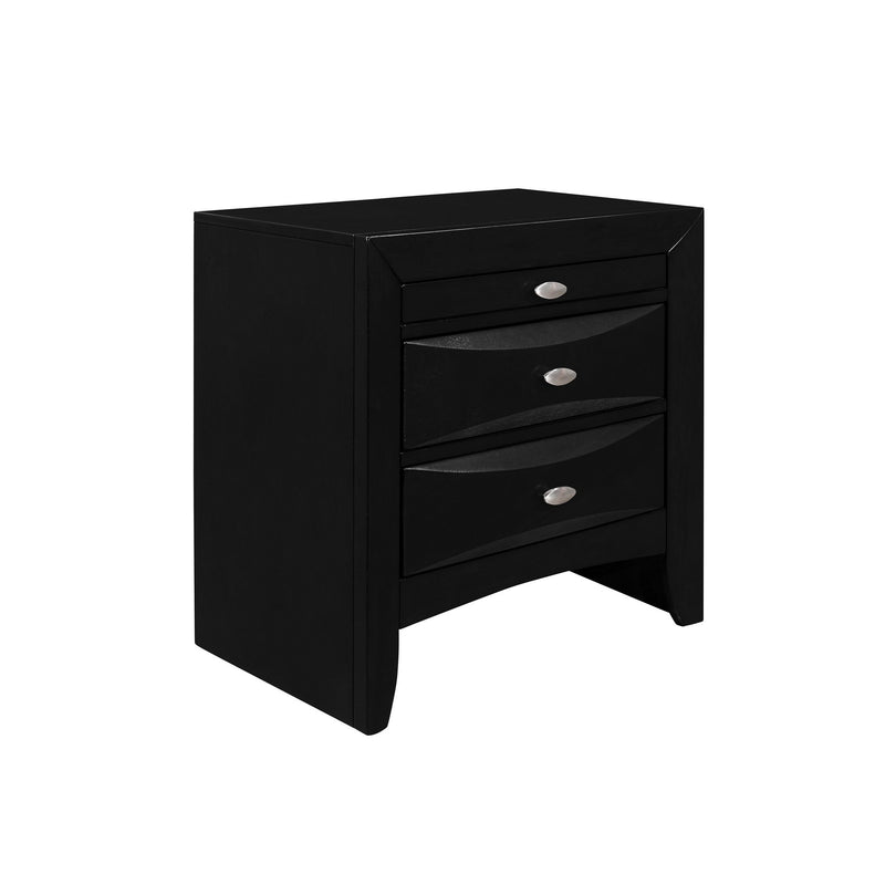 Black Nightstand with 2 Chambered Drawer