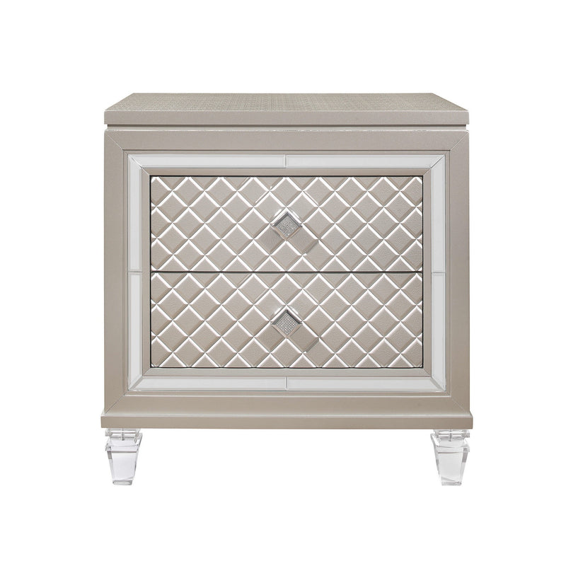 Champagne Toned Nightstand with Tapered Acrylic Legs and 2 Drawers