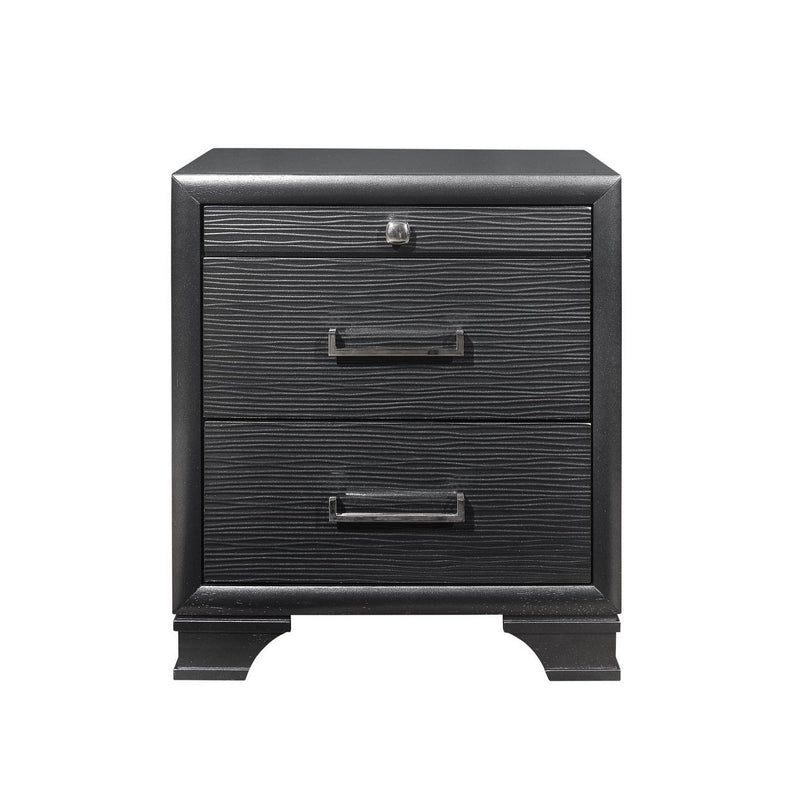 Grey Nightstand with 3 Drawers