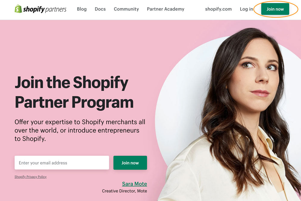Shopify Partners Landing Page