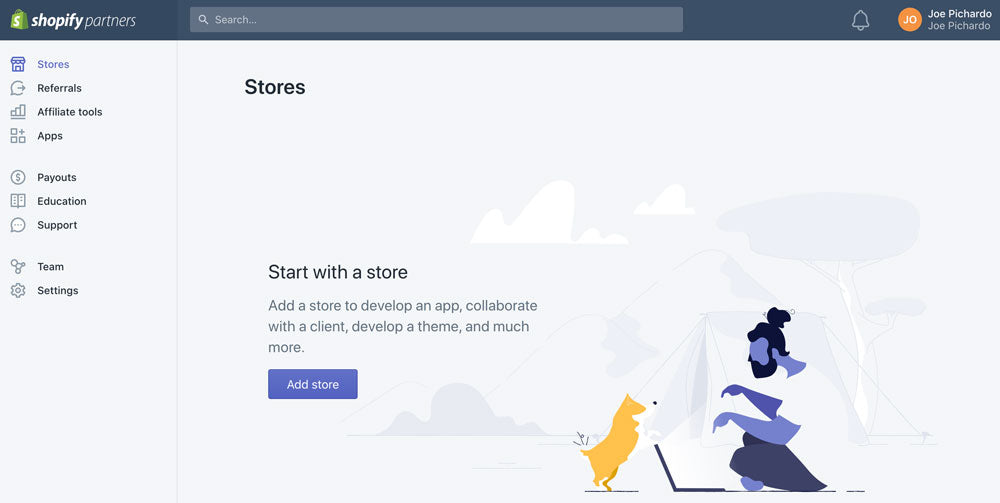 Shopify Stores Dashboard - Add Store Button enabled