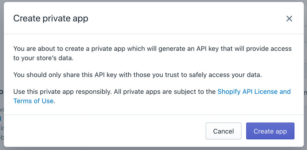 Create private app confirmation popup