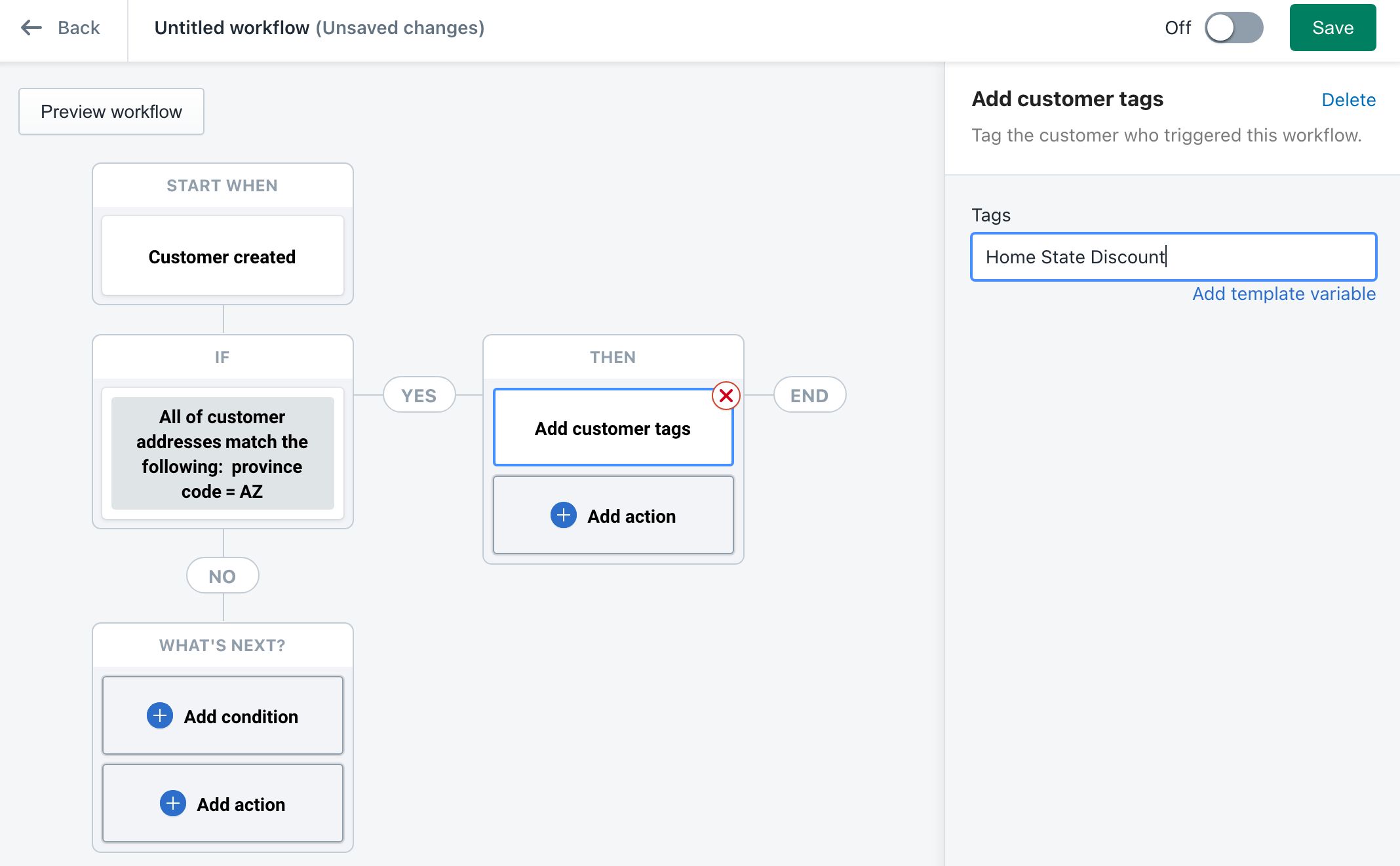 Shopify Flow example workflow
