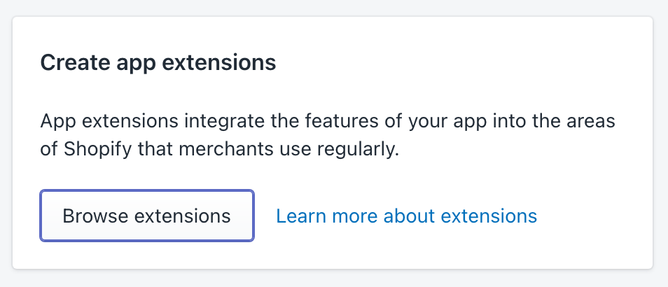 Shopify Partners - Create App Extensions