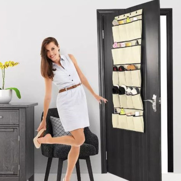 20 Pocket Over The Door Shoe Rack Organizer