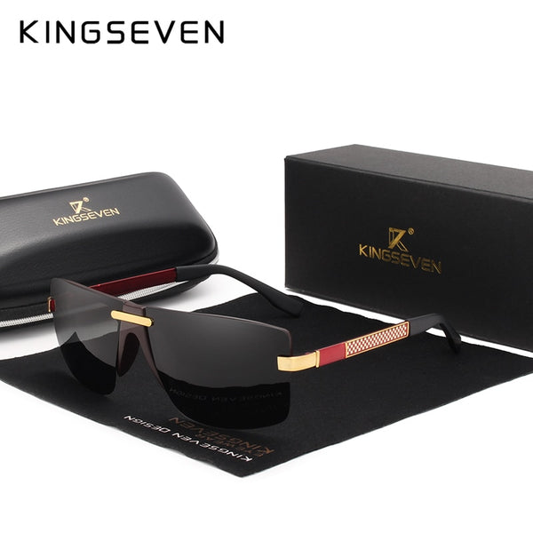 KINGSEVEN HD Polarized Sunglasses Men Rimless  Designer Look