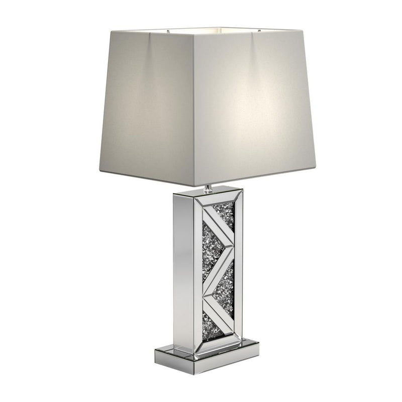 White - Geometric Base Table Lamp Silver