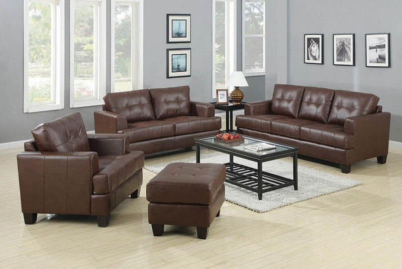 Samuel Collection - Dark Brown - Samuel Tufted Sofa Dark Brown