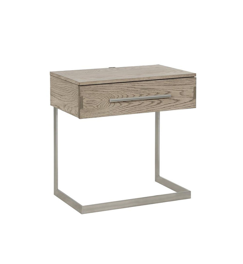 Smithson Collection - Smithson 1-drawer Nightstand With Metal Base Grey Oak