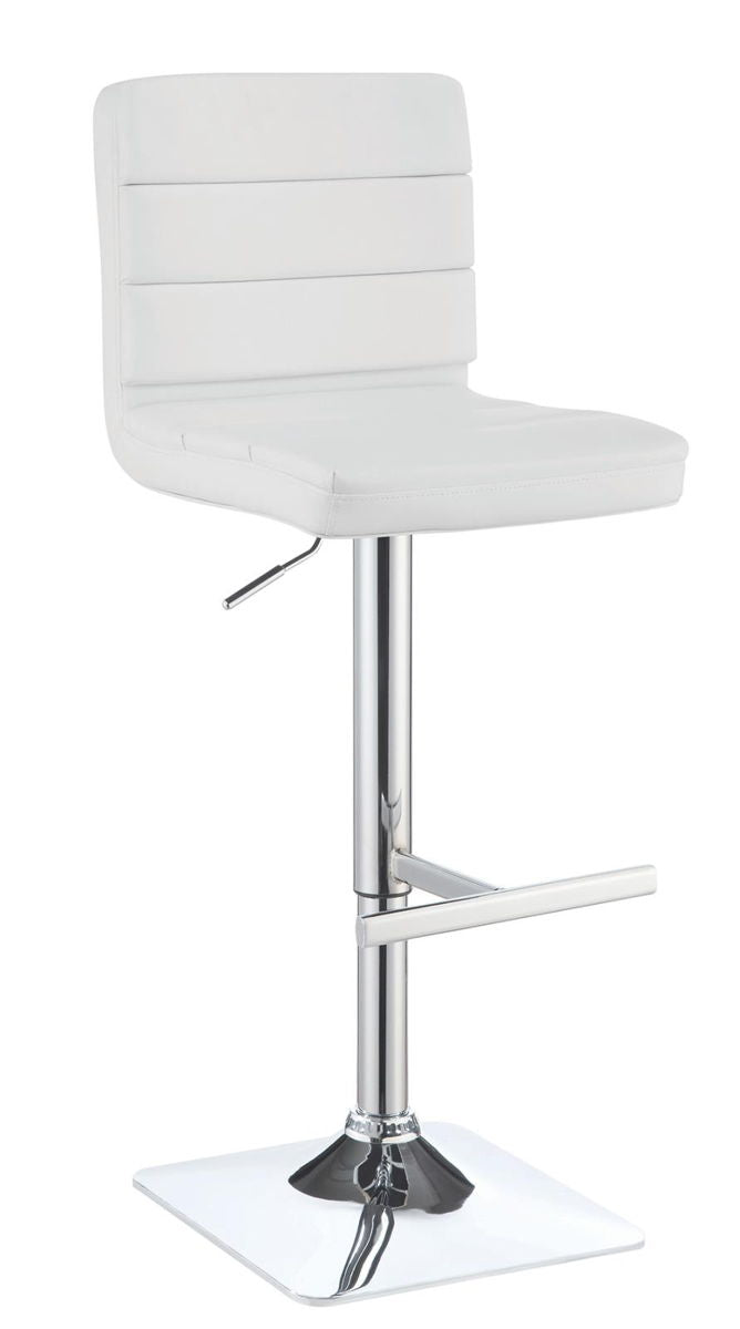 Rec Room/bar Stools: Height Adjustable - White - Upholstered Adjustable Bar Stools White And Chrome (Set of 2)
