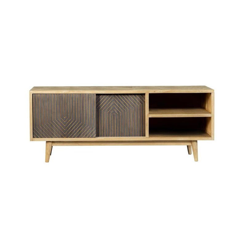 Tv Console With Sliding Doors Natural