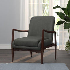 Dark Cherry - Upholstered Accent Chair With Wooden Arm Dark Grey And Brown