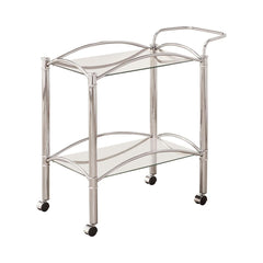 Rec Room: Serving Carts - 2-tier Serving Cart With Glass Top Chrome And Clear