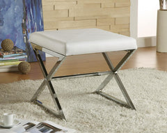 Accents : Ottomans - White - X-cross Square Ottoman White And Chrome