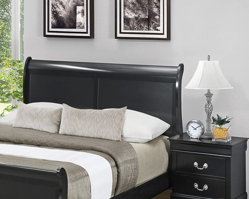 Louis Philippe Collection - Louis Philippe Full Sleigh Headboard Black