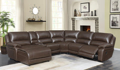 Mackenzie Motion Collection - Chestnut - Mackenzie 6-piece Motion Sectional Chestnut
