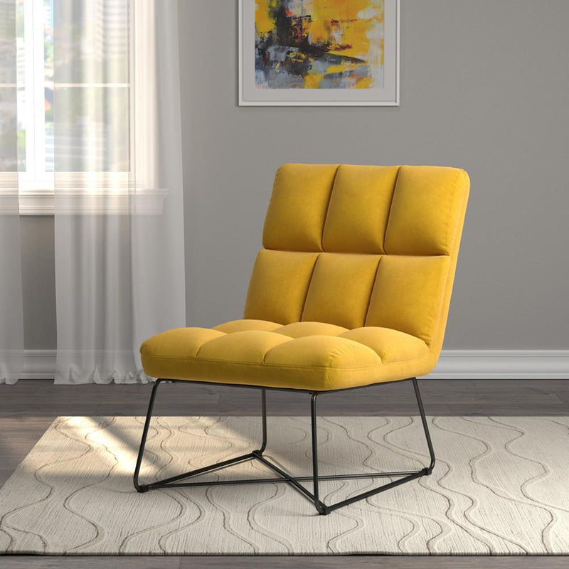 Yellow - Armless Upholstered Accent Chair Yellow