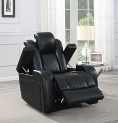 Delangelo Motion Collection - Black - Delangelo Power^2 Recliner With Cup Holders Black