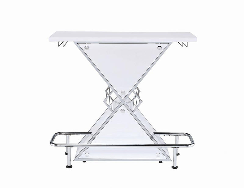 X-shaped Bar Unit With Wine Bottle Storage Glossy White