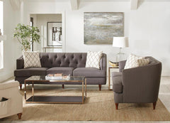 Shelby Collection - Shelby 2-piece Tufted Upholstered Living Room Set Grey And Brown
