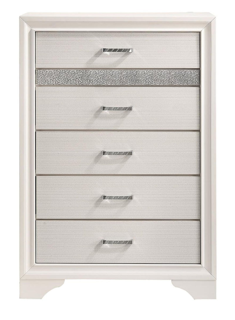 Miranda Collection - Miranda 5-drawer Chest White And Rhinestone