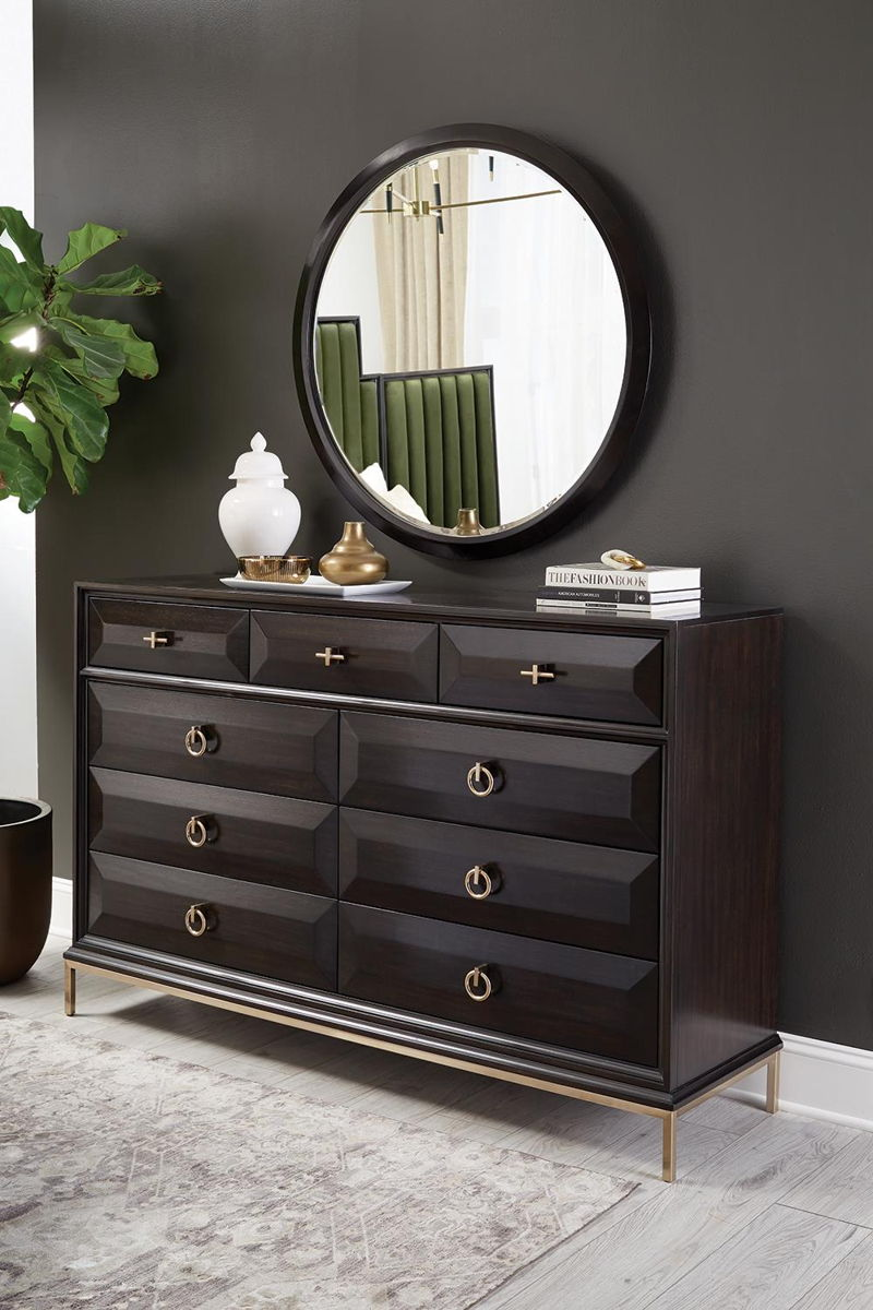 Formosa Collection - Formosa Round Dresser Mirror Americano