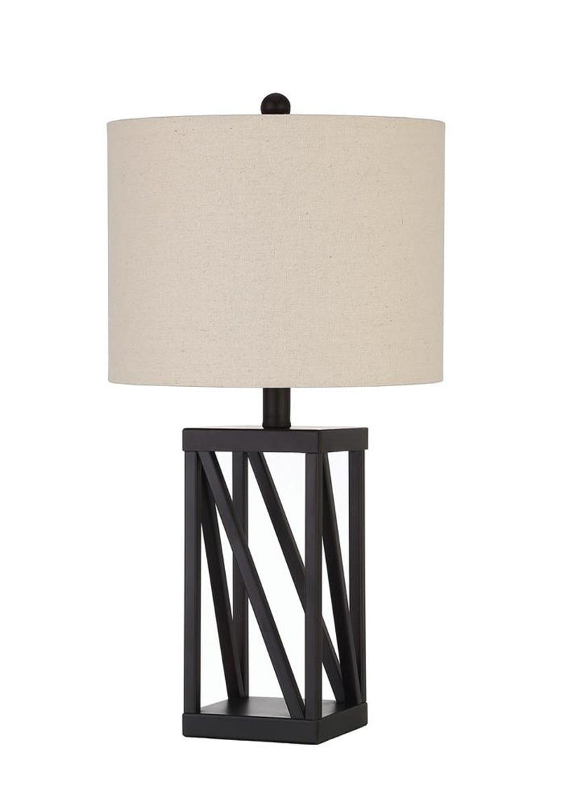 White - Geometric Base Table Lamp Beige And Black
