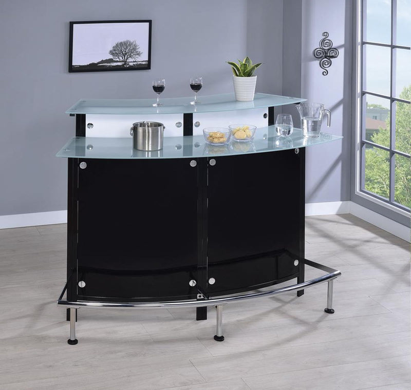 Bar Units: Contemporary - Glass Top Bar Unit Black