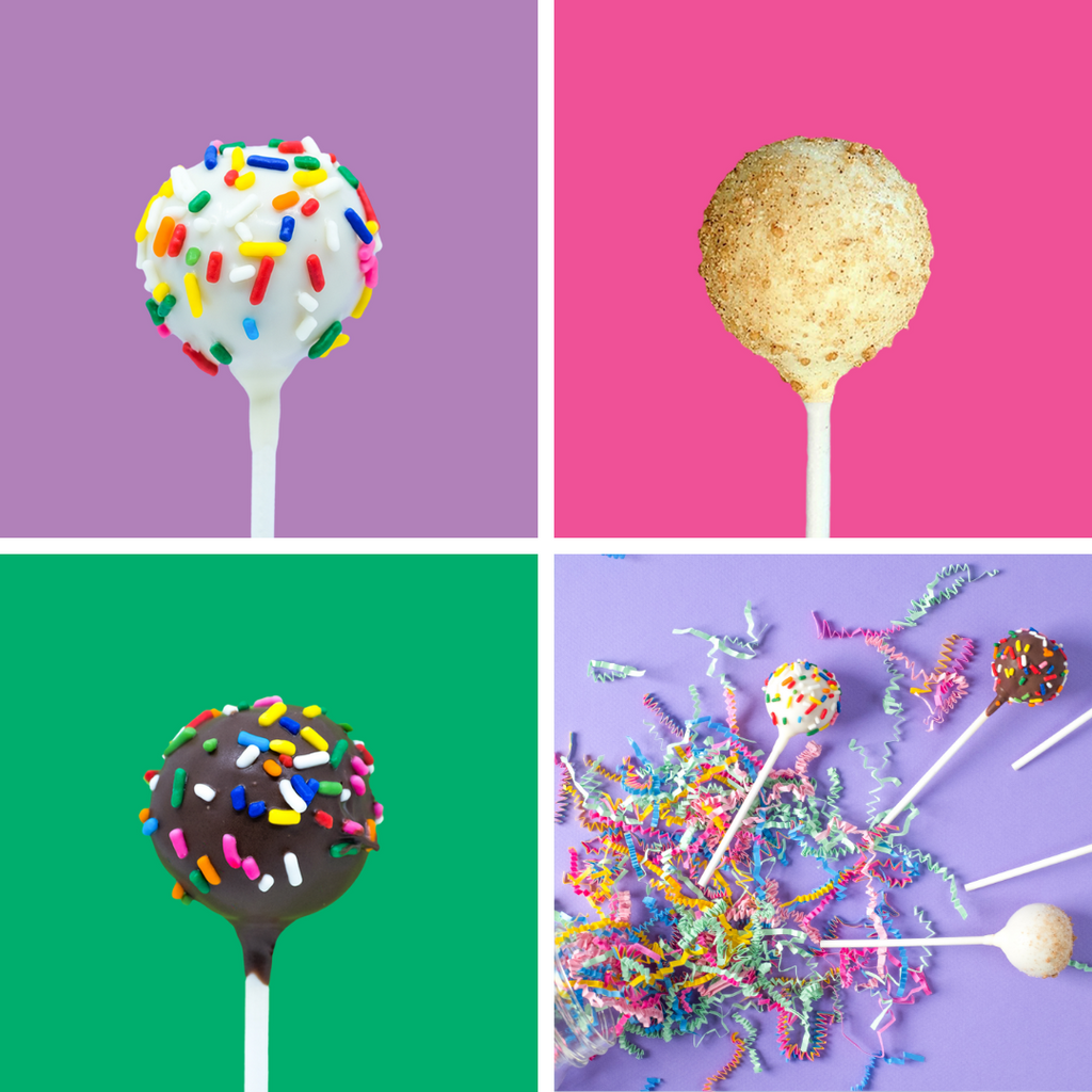 Image of Chocolate Sprinkle and Hippo Hooray cake pops with rainbow sprinkles and CinnaFun cake pops with cinnamon sugar topping