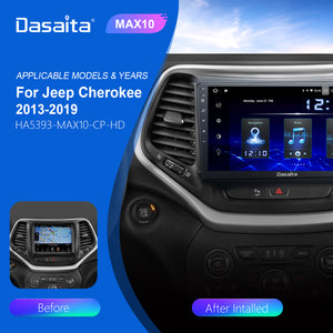 Dasaita Android 10.0 Car Stereo for Jeep Cherokee 2013 to 2019 Touch Screen DSP Wifi Bluetooth CarPlay / Android Auto 1280*720