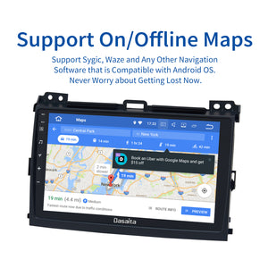 "Dasaita 9"" IPS Android 10.0 Car Radio 1 din for Toyota Prado 120 GPS 2004 2005 2006 2007 2008 2009 Navigation 64G ROM MAX10"