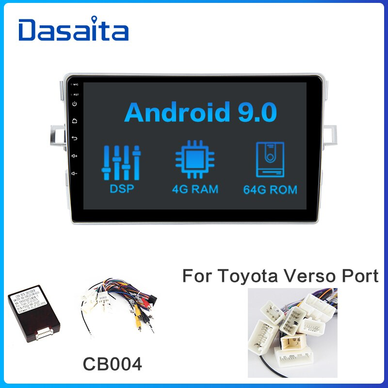 Dasaita Car Stereo Radio-Player 1 Din Android 10.0 for Toyota Verso EZ Navigation 2012 2013 2014 2015 2016 8