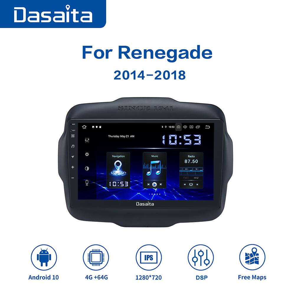 Dasaita Android 10 Car Radio GPS for Jeep Renegade Carplay 2016 2017 2018 Multimedia Player with 9
