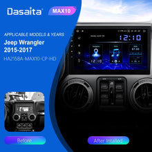 "Load image into Gallery viewer, Dasaita 10.2"" IPS Screen Android 10.0 Car 1 din for Jeep Wrangler Radio 2011-2016 Bluetooth 1280*720 64G ROM MAX10 TDA7850"