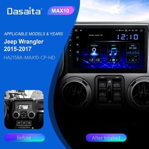 "Dasaita 10.2"" IPS Screen Android 10.0 Car 1 din for Jeep Wrangler Radio 2011-2016 Bluetooth 1280*720 64G ROM MAX10 TDA7850"