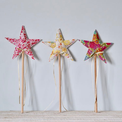 Star magic wands with Liberty designer floral fabric