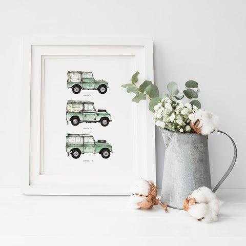 Print showing 3 green landrovers