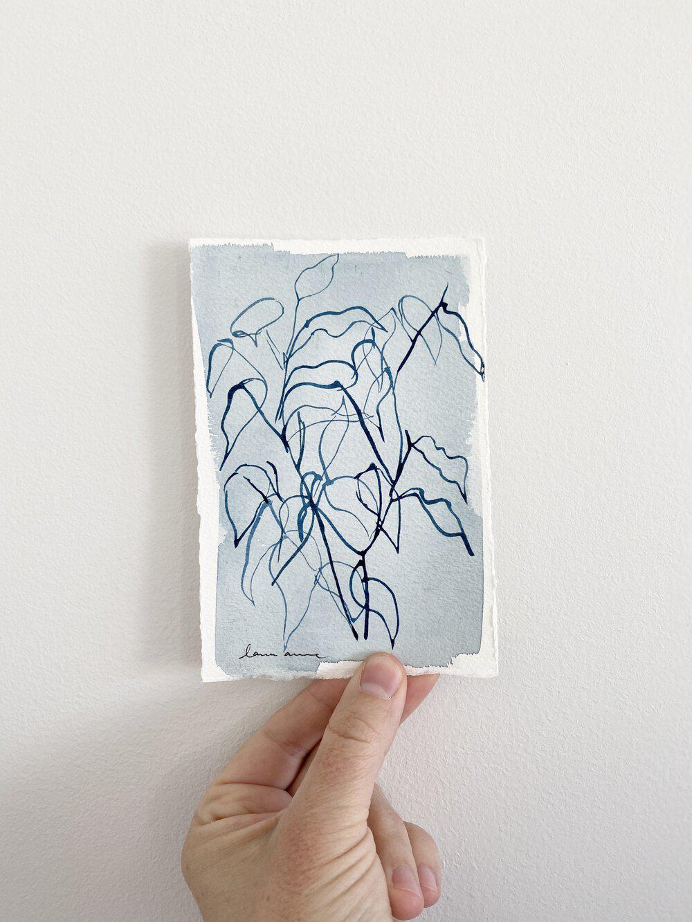 Blue Botanical Blind Contour 1