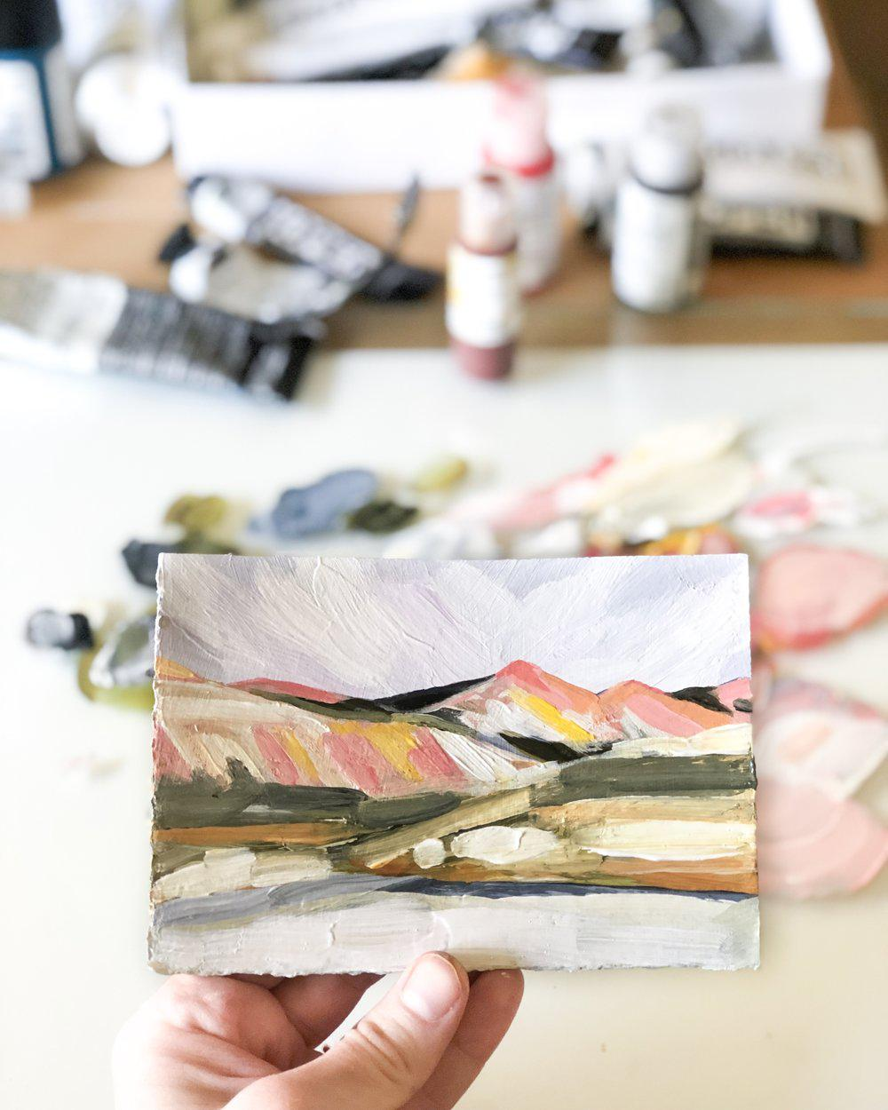 Tiny Pink Mountain Landscape