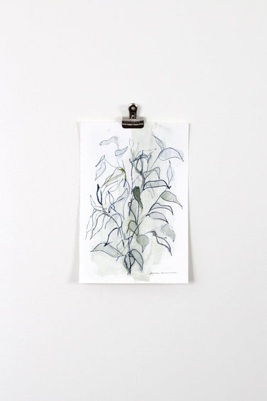 """Green and Blue Blind Contour Botanical"" Watercolor Painting 6x9"