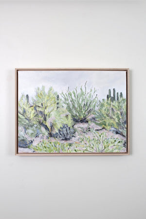 """Desert Plants"" Framed Acrylic Painting 18x24"