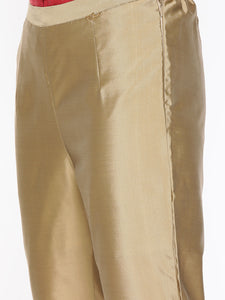 SLIM CROP PANTS IN GOLD TAFETA AND SIDE ZIPPER