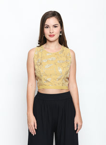 Embroidered Blouse With Back Metal Zip