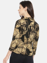 Load image into Gallery viewer, All over Rose Gold Printed Jacket- Black & Beige Crop Jacket