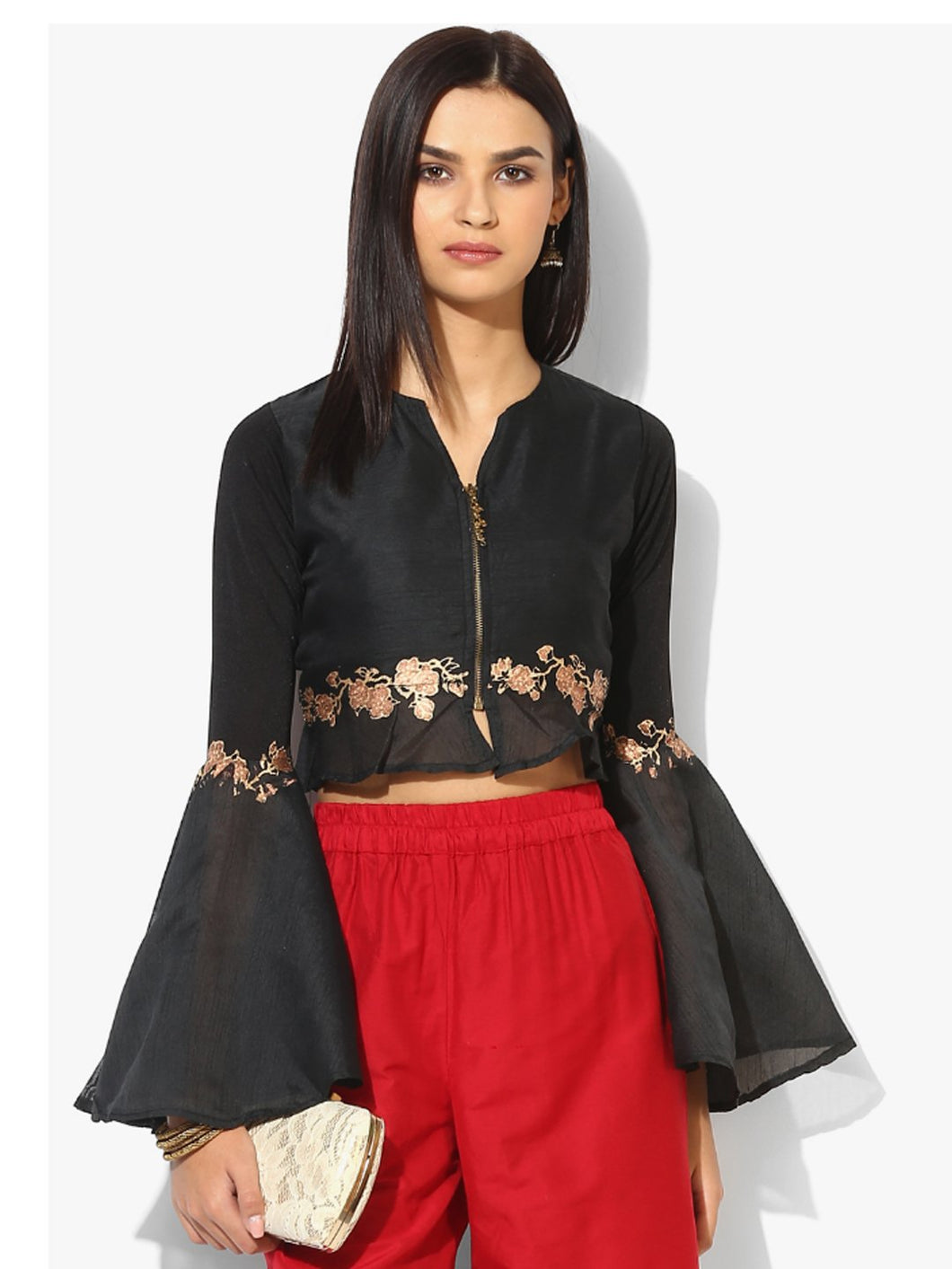 CROP JACKET WITH FULL OPEN METAL ZIPPER AND GOLD AND RED PRINT ON WAIST AND SLEEVES