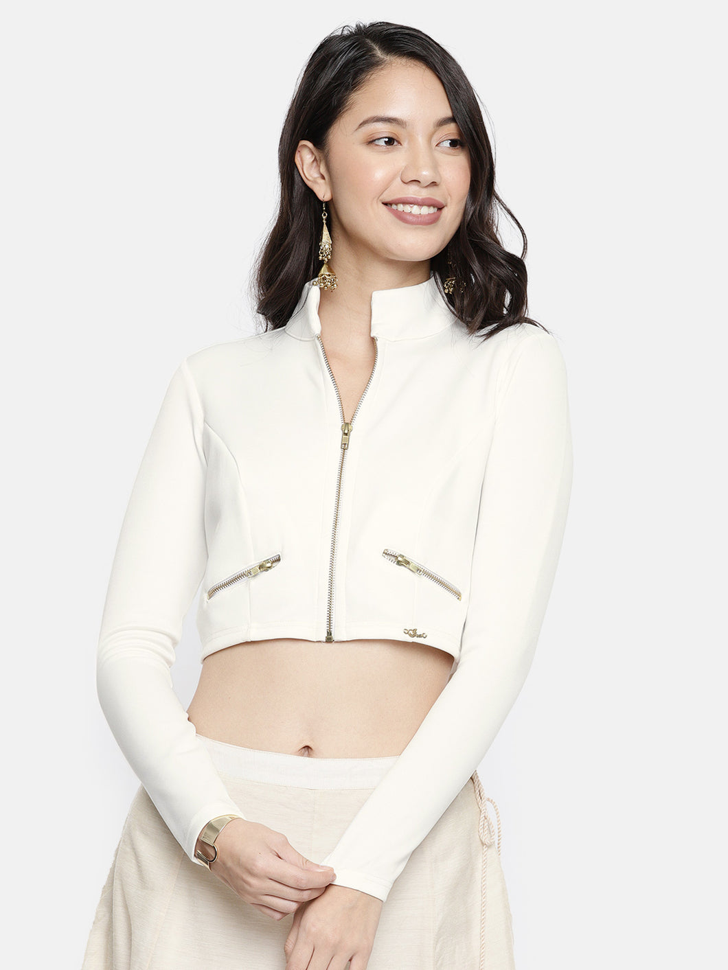 Short Crop Jacket With Metal Zip Front
