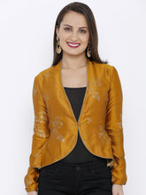 Load image into Gallery viewer, All over Light Gold Print Jacket with Sleeve detail -Women Yellow Printed Tailored Jacket