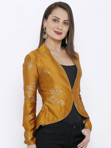 All over Light Gold Print Jacket with Sleeve detail -Women Yellow Printed Tailored Jacket