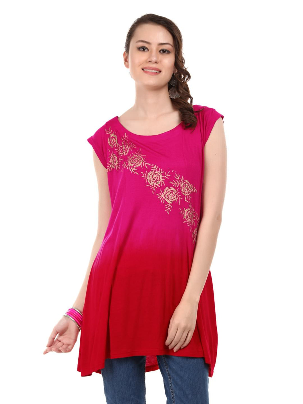 Dip Dyed Short Kurti With Gold Print Across Body